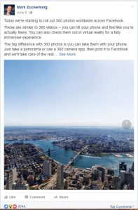 Facebook announces support for 360 images - Zuckerberg